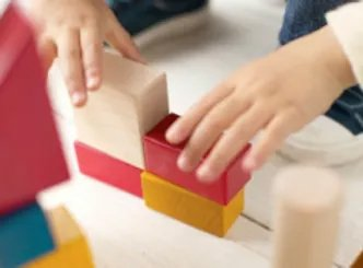 playing with blocks at preschool
